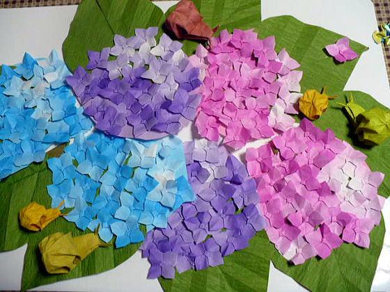 花 折り紙 紫陽花 折り紙 : hagifood.com