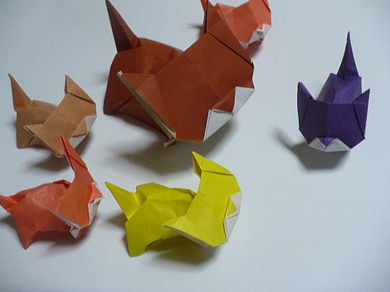 ハート 折り紙:折り紙 ネコ-yukinokaze.blog.so-net.ne.jp