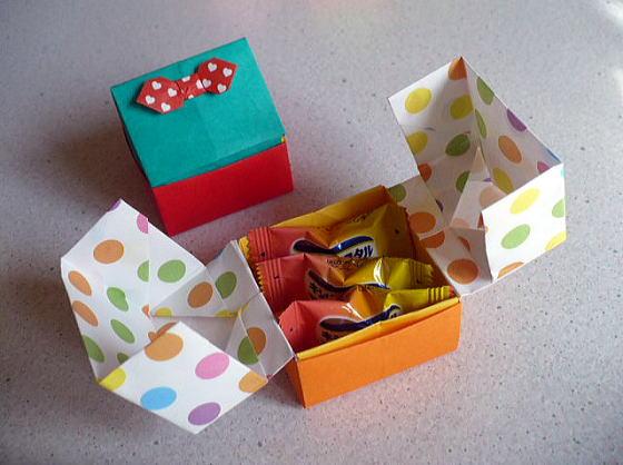 ハート 折り紙:折り紙 キャンディボックス-hagifood.com